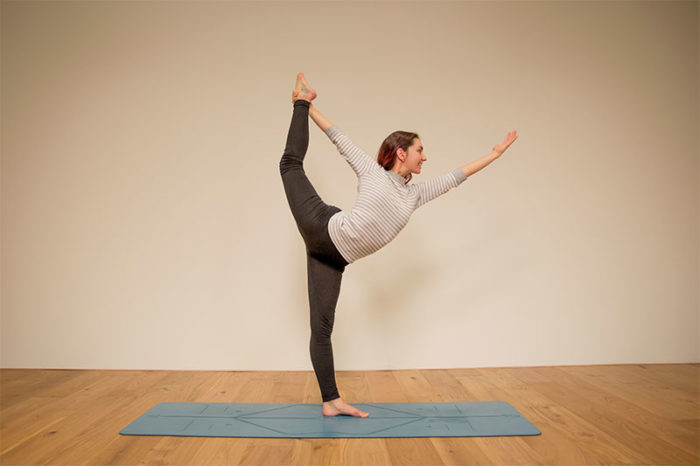 Dancer's pose at the Ekhart Yoga Studios